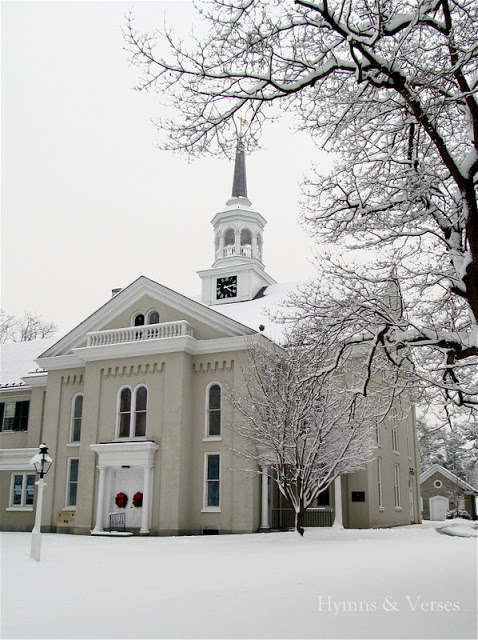 Downtown Lititz - Moravian Church in the Snow