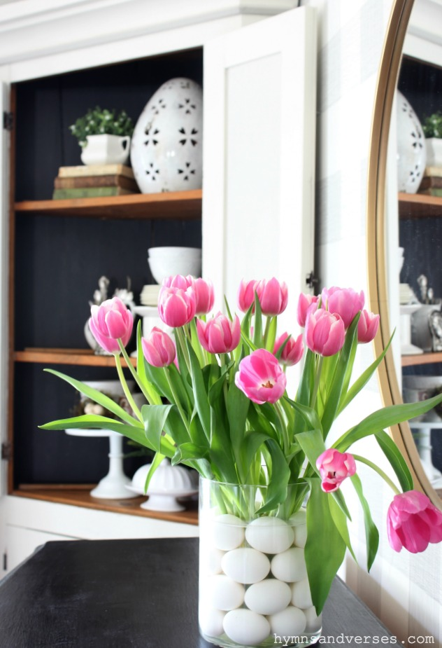 Spring Tulips with Eggs in the Vase for Easter