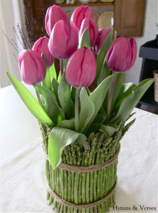 Tulip and Asparagus Centerpiece