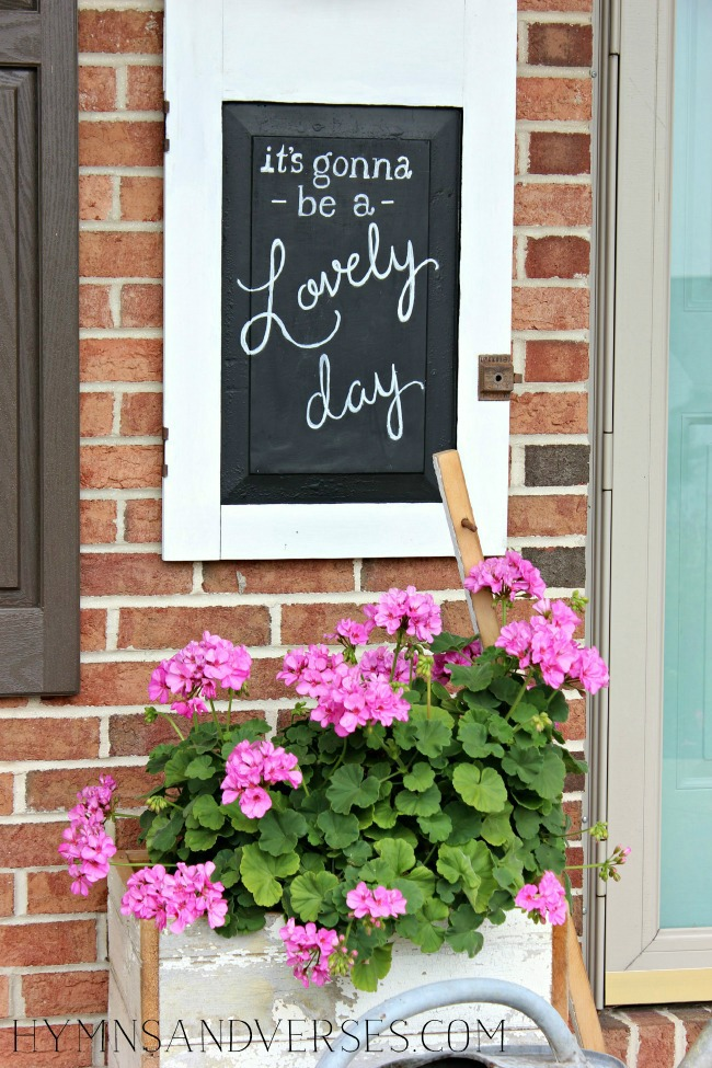 It's Gonna Be a Lovely Day Chalkboard - Repurposed Cabinet Door Chalkboard