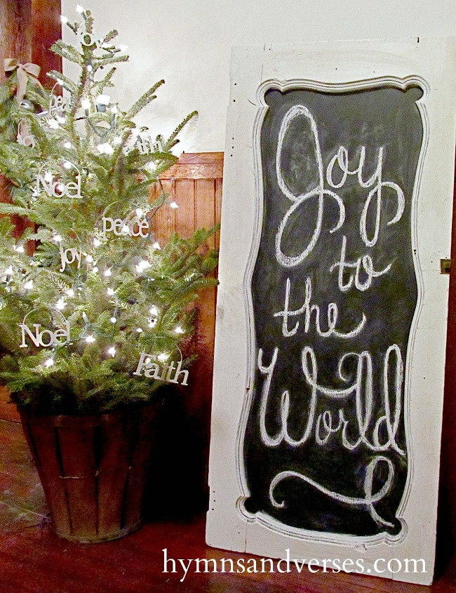 Joy to the World Chalkboard - Repurposed Cabinet Door