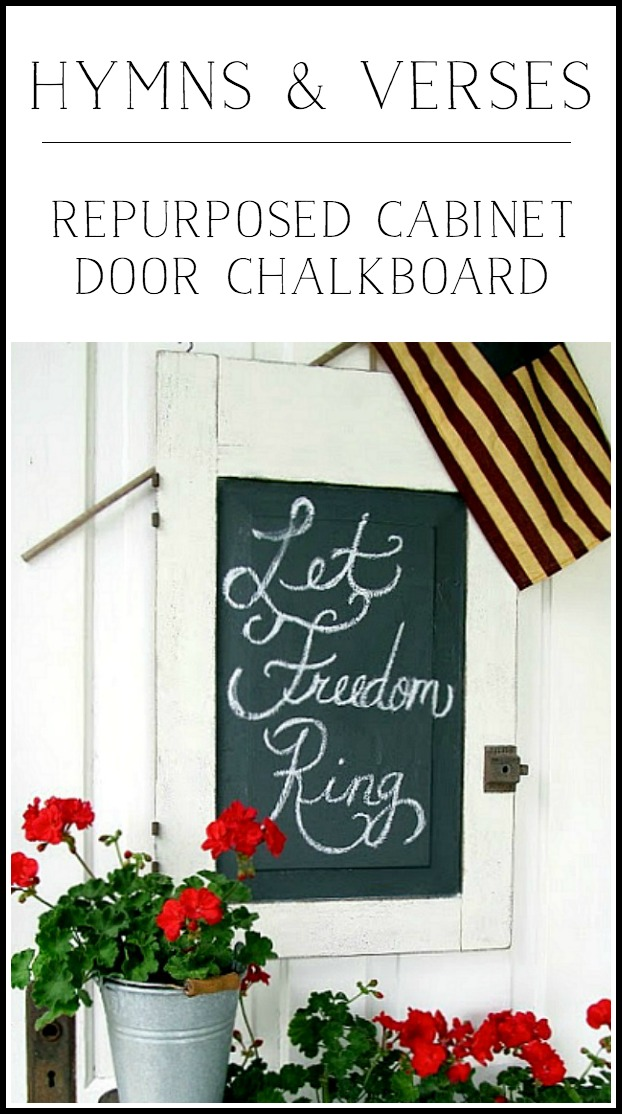 Repurposed Cabinet Door Chalkboard - Hymns and Verses