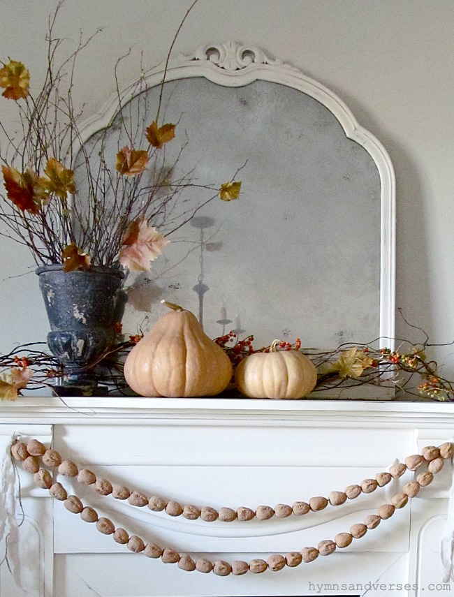 Fall Mantel with Walnut Garland - Hymns and Verses