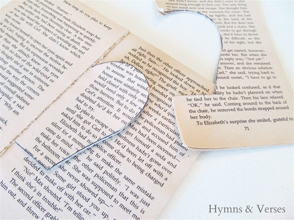 How to Make a Book Page Apple - Cut around the traced line