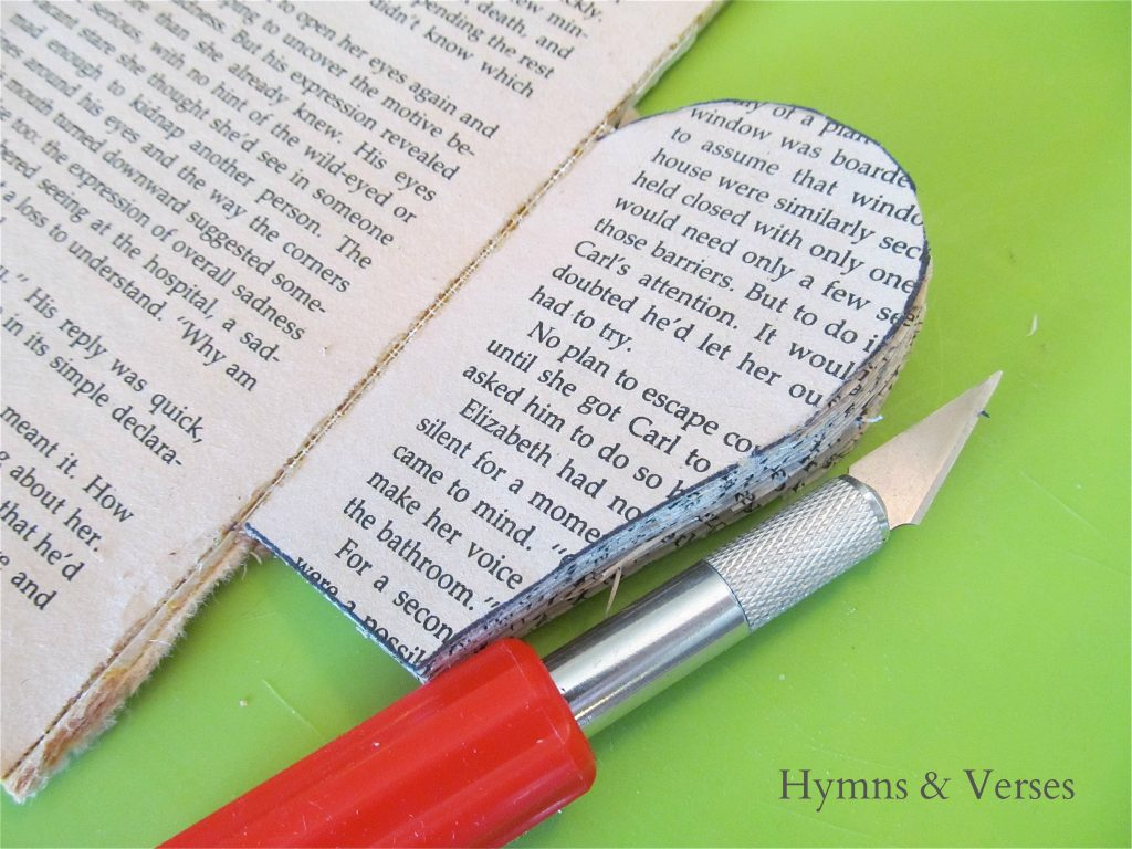 How to Make a Book Page Apple - Cut book pages using an Exacto knife