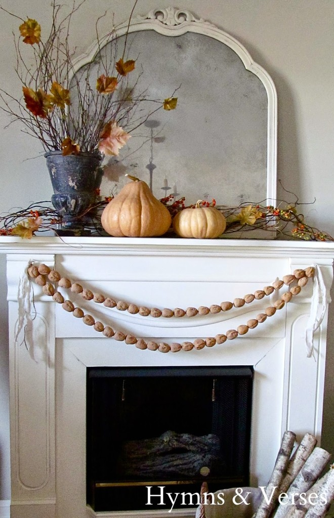 Fall-Mantel-Walnut-Garland Changing Seasons