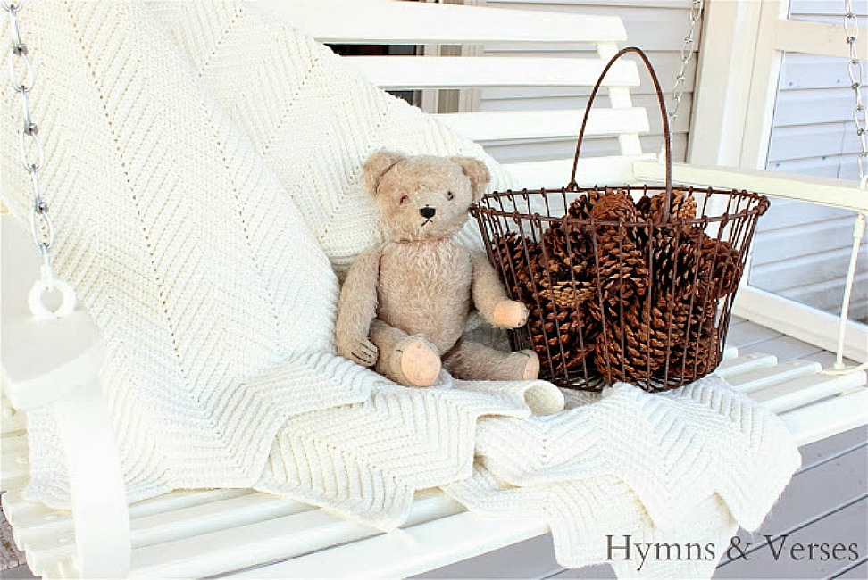 Vintage Teddy Bear on Porch Swing - Hymns and Verses Blog