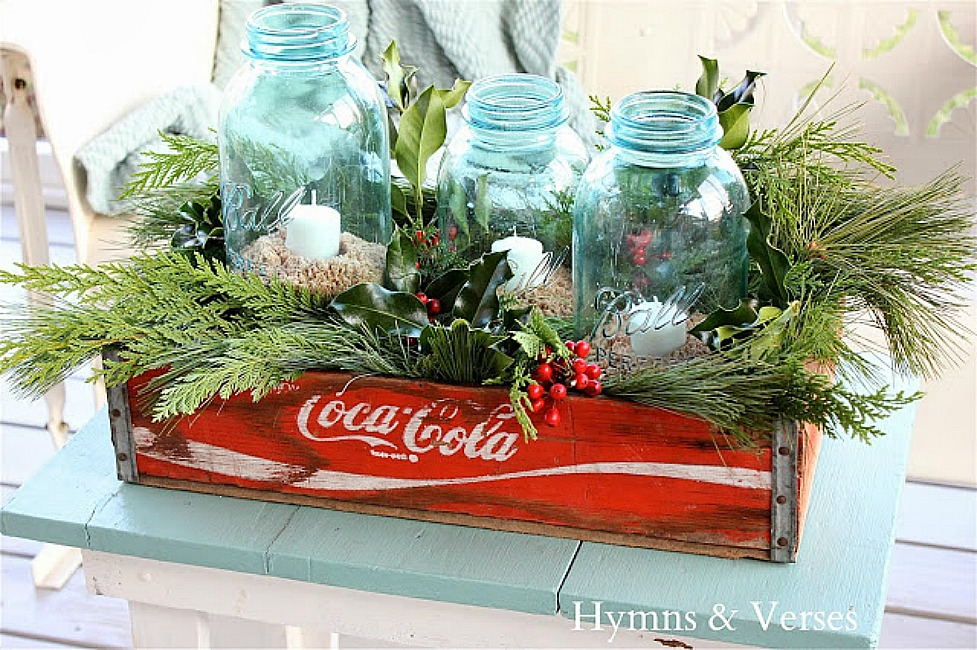 Vintage Coca-Cola Crate with Aqua Vintage Ball Jars with Candles and Christmas Greens - Hymns and Verses Blog