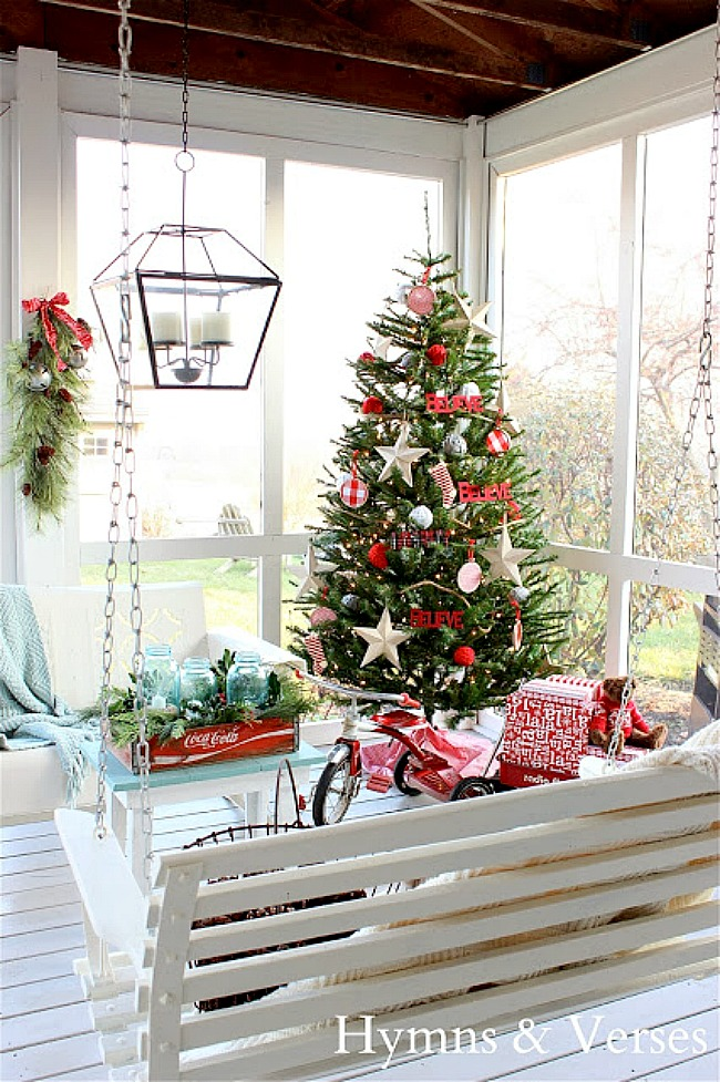 Screen Porch Decorated for Christmas - Hymns and Verses Blog