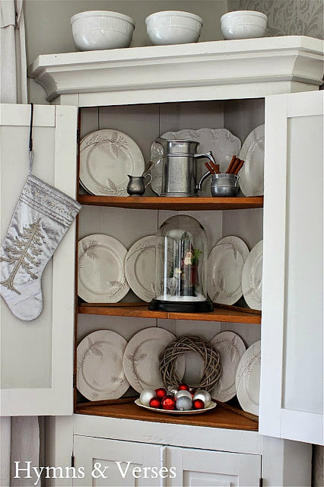 Vintage Corner Cabinet Styled for Christmas - Hymns and Verses Blog