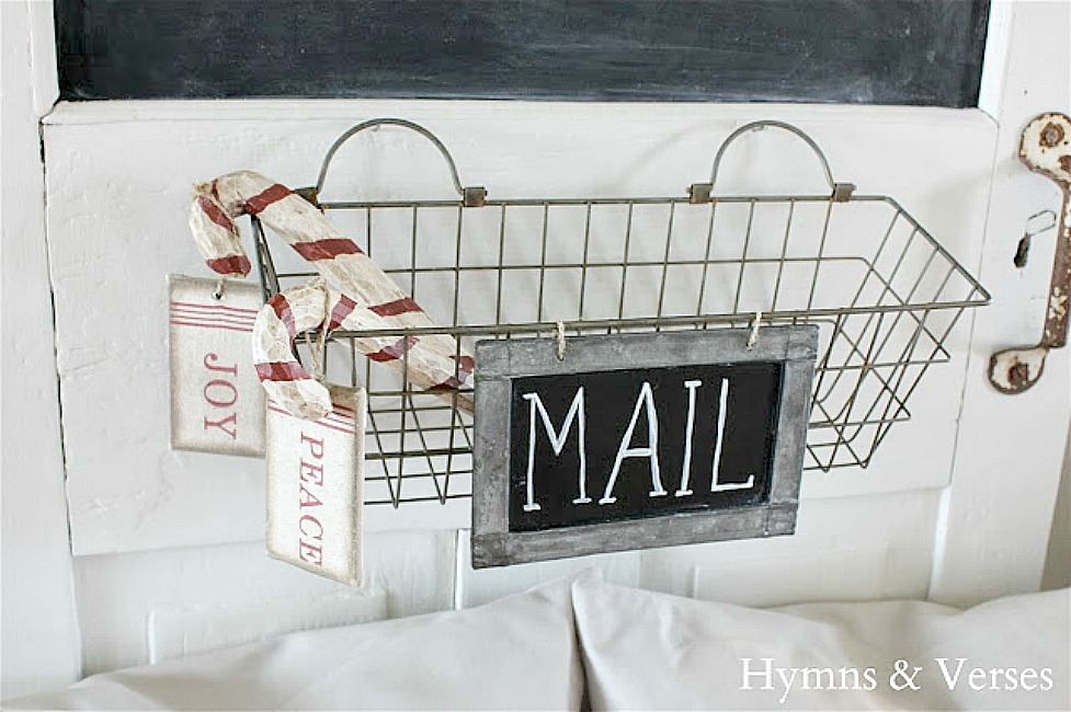 Metal Basket for Mail with Wood Candy Canes - Hymns and Verses Blog