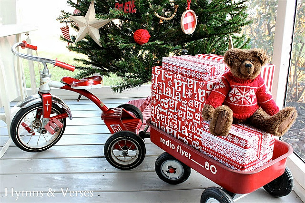 Vintage Red Radio Flyer Tricycle and Wagon with Christmas Presents and Teddy Bear - Hymns and Verses Blog