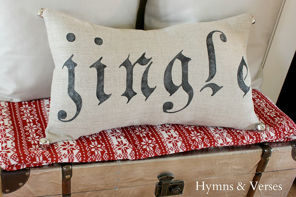 Linen Jingle Pillow with Jingle Bells - Hymns and Verses Blog