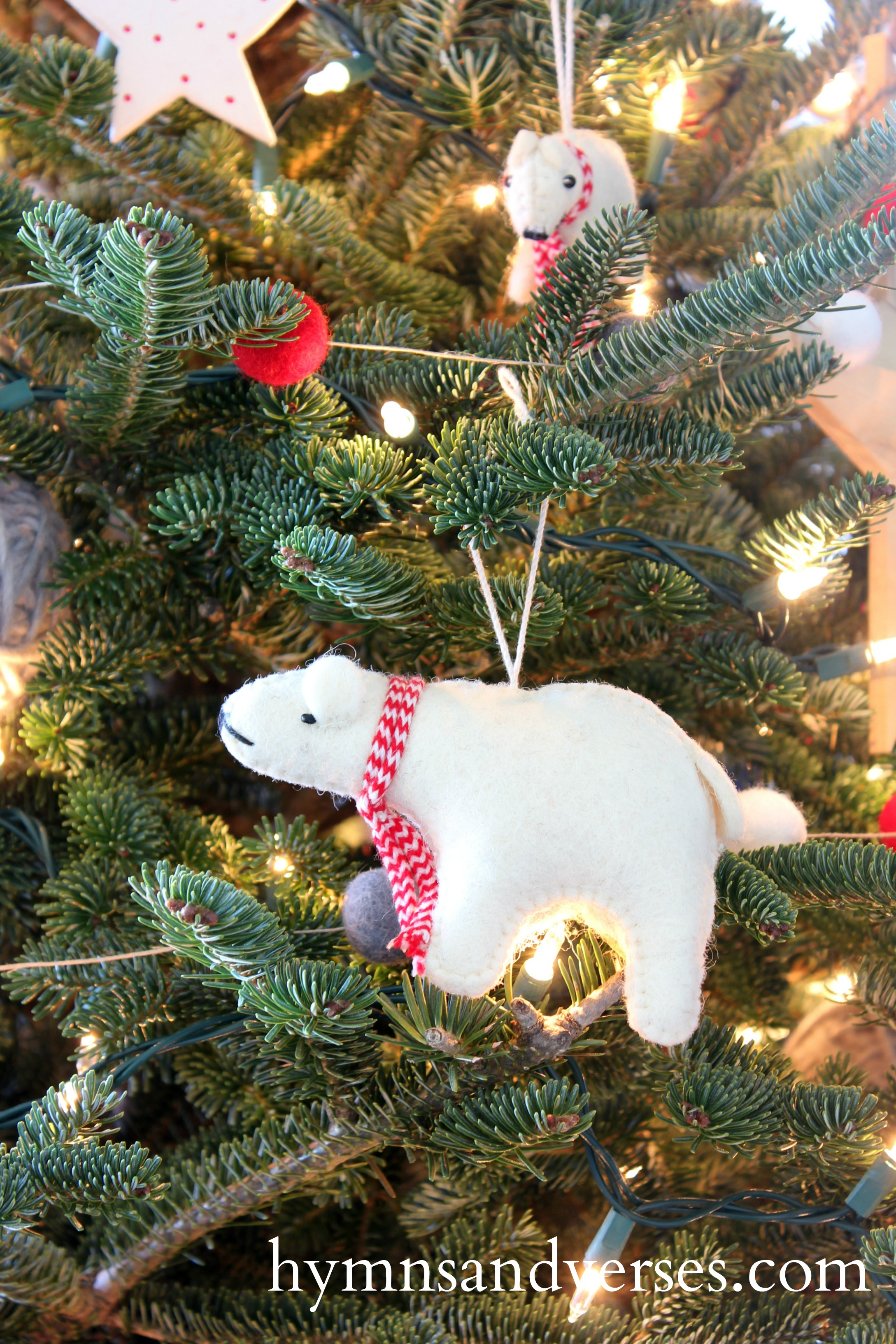 Wool Polar Bear Ornaments