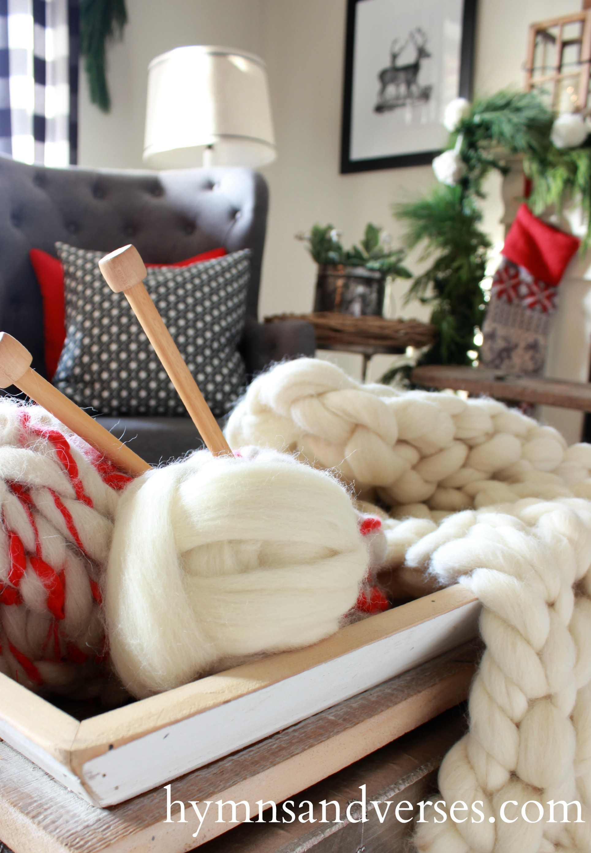 Wool Roving Knit Throw