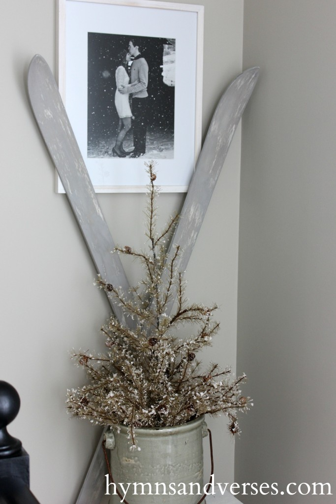 Maison Blanche Painted Skis - winter decor