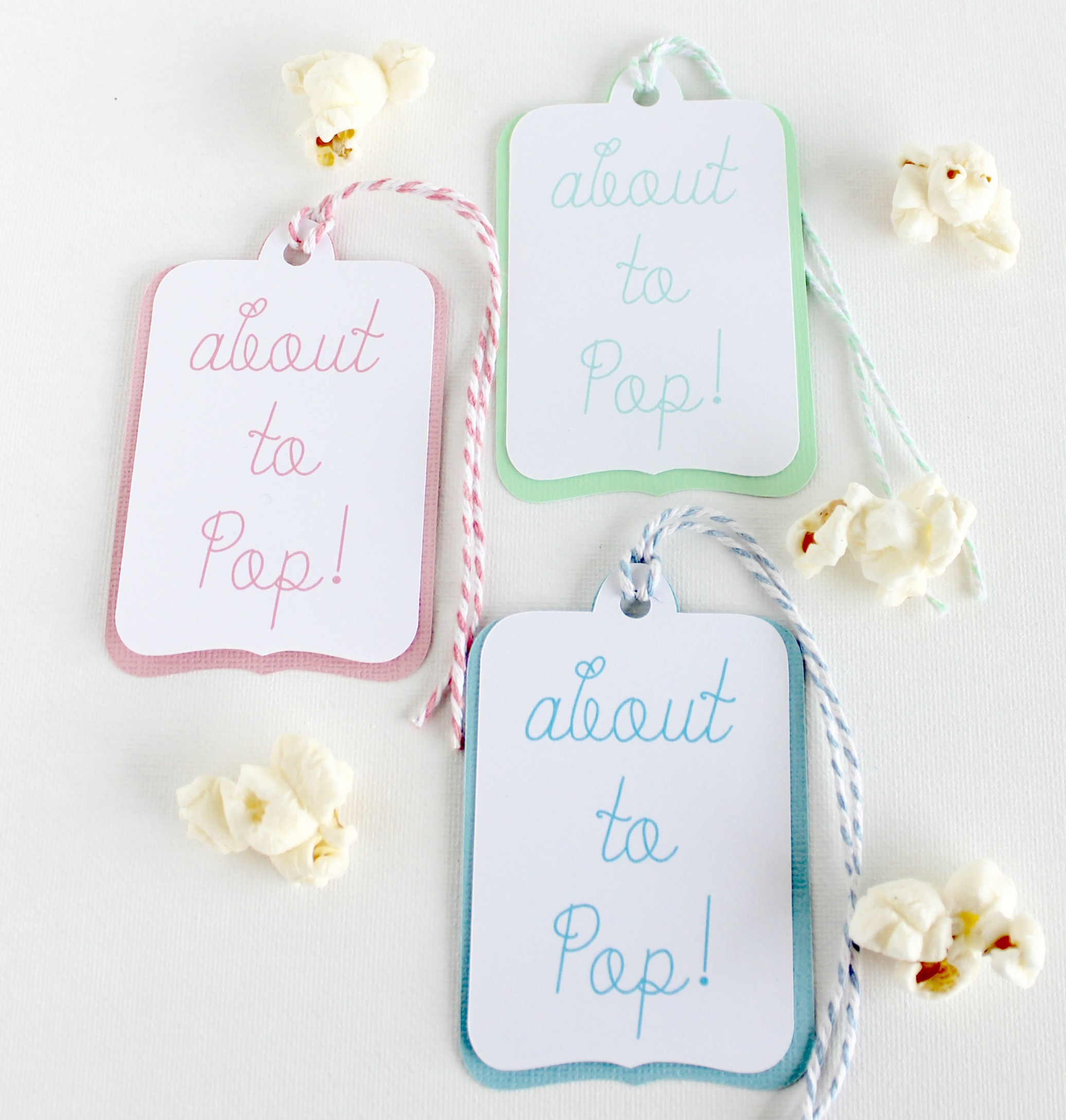 About to Pop - Baby Shower Popcorn Favor Tags - Hymns and Verses