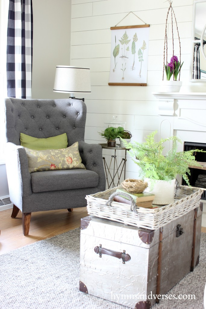 Gray Tufted Chair Spring Home Tour