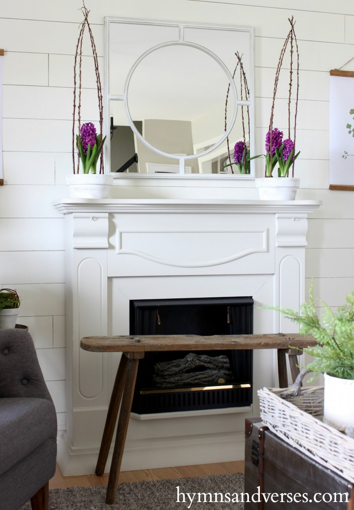 Green and Plum Mantel Spring Home Tour