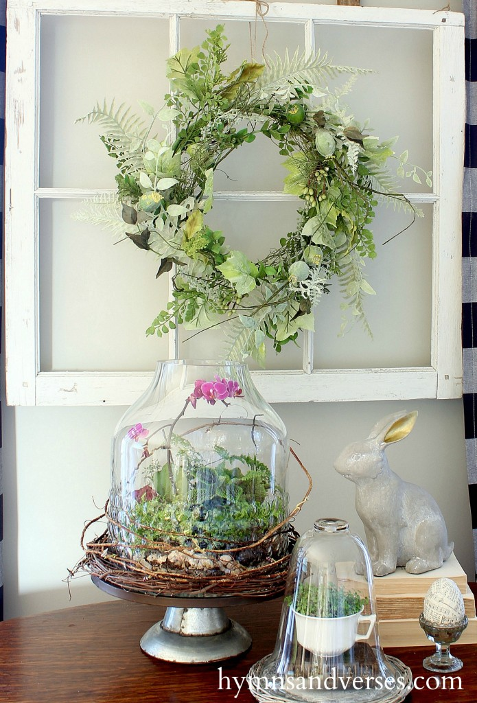 Window Pane Wreath Spring Home Tour