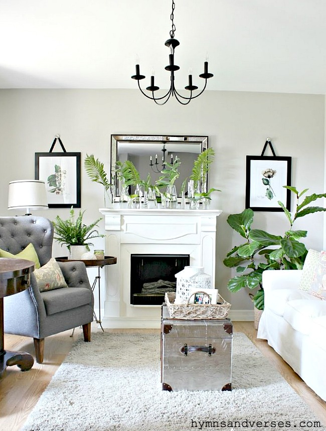 Summer Living Room with Botanical Prints and Live Plants