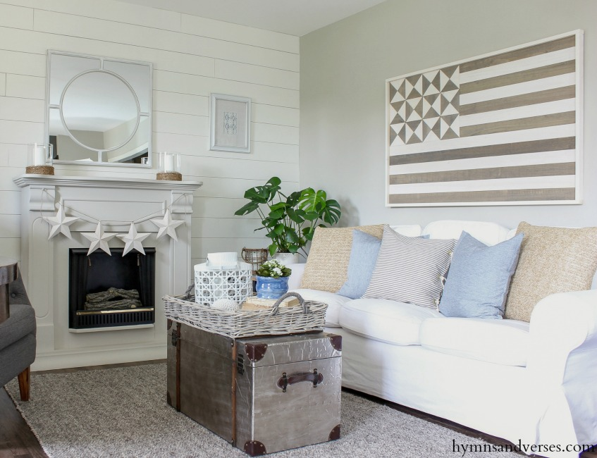 Summer Living Room with American Flag Wall Art