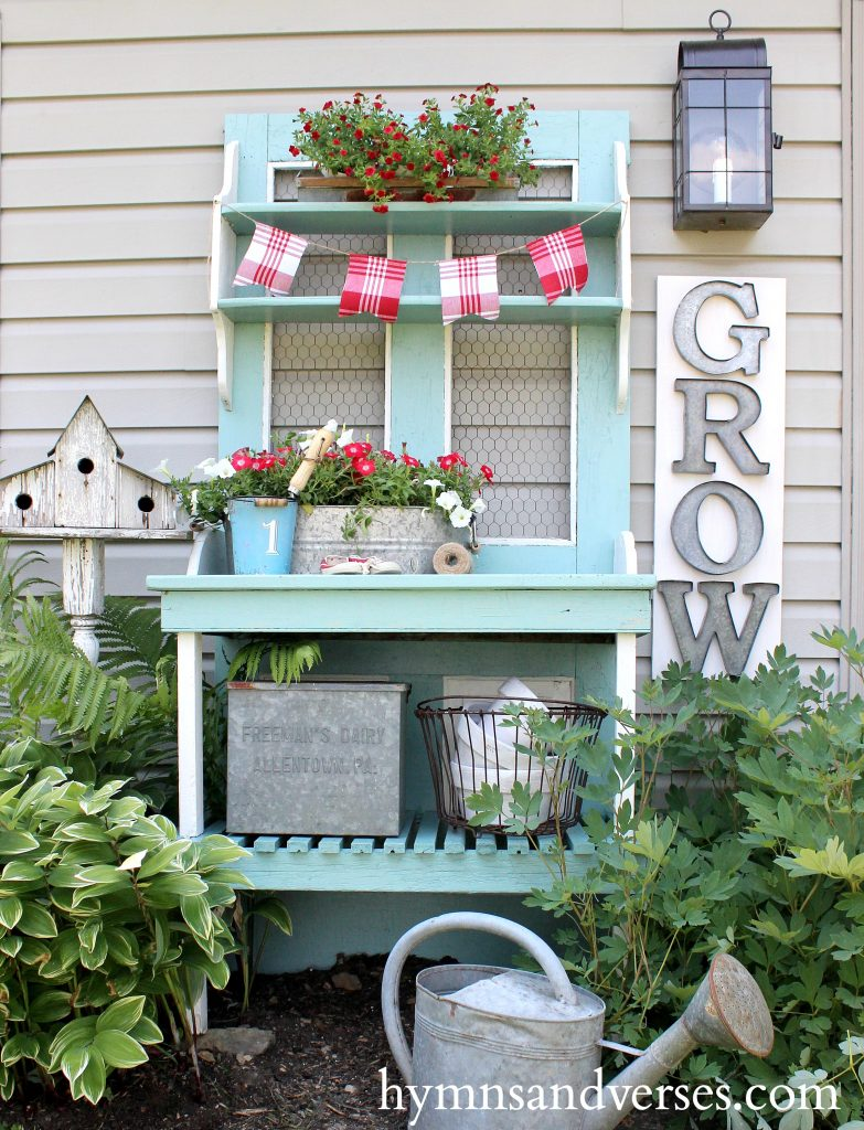 Cottage Farmhouse Garden Ideas - Red, White & Aqua Blue Potting Bench