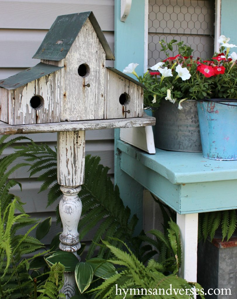 Red, White and Blue - Chippy White Birdhouse