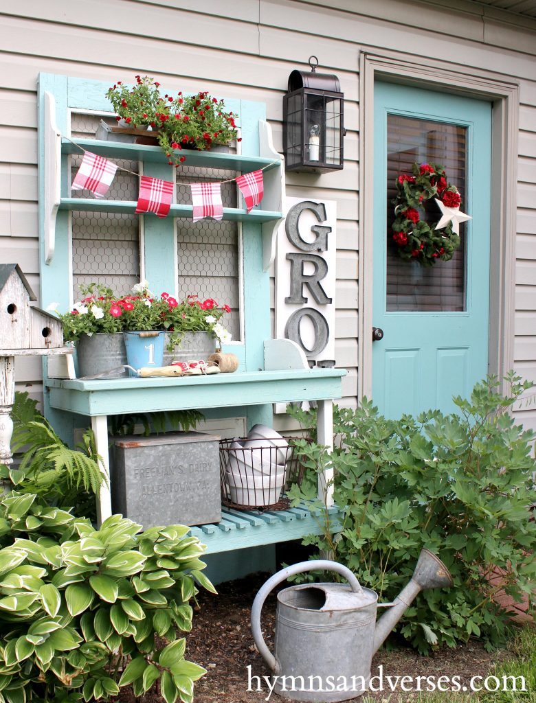 Red, White and Blue - Aqua Potting Bench & Door