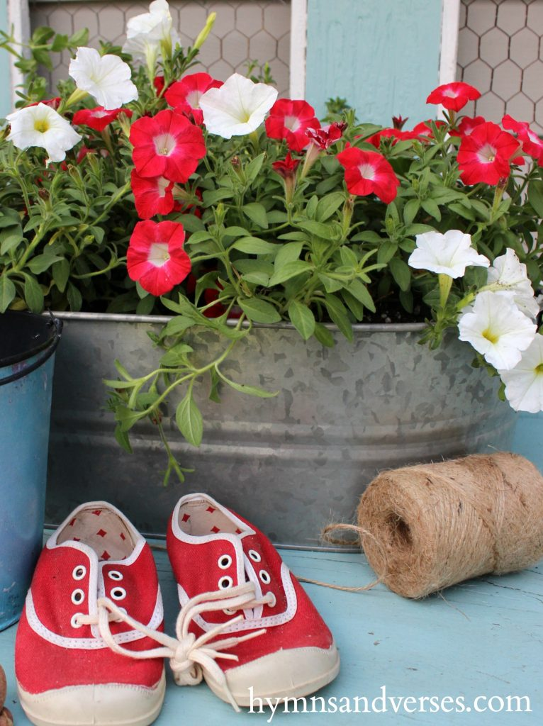 Red, White and Blue - vintage red sneakers