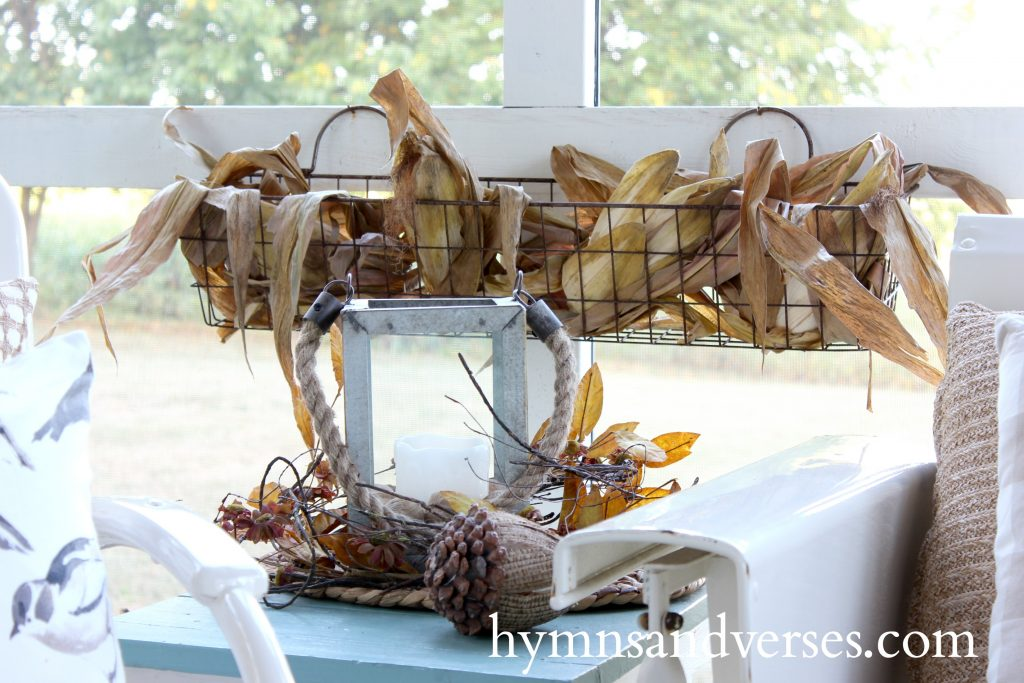 Corn Husks in Wire Hanging Basket - Autumn on the Porch