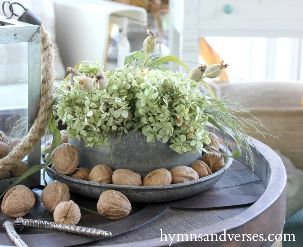 Walnuts and Hydrangea Milk Can Lid - Autumn on the Porch