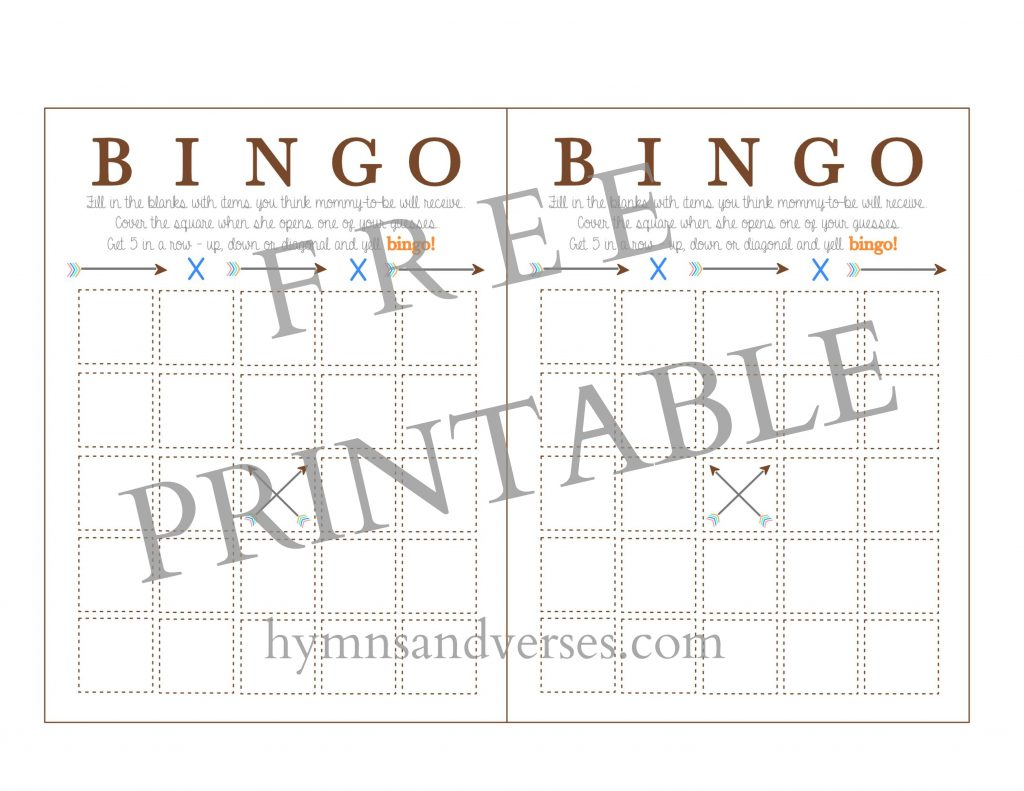 Baby Shower Bingo Printable