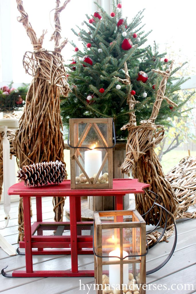 Grapevine Reindeer - Cozy Christmas Porch