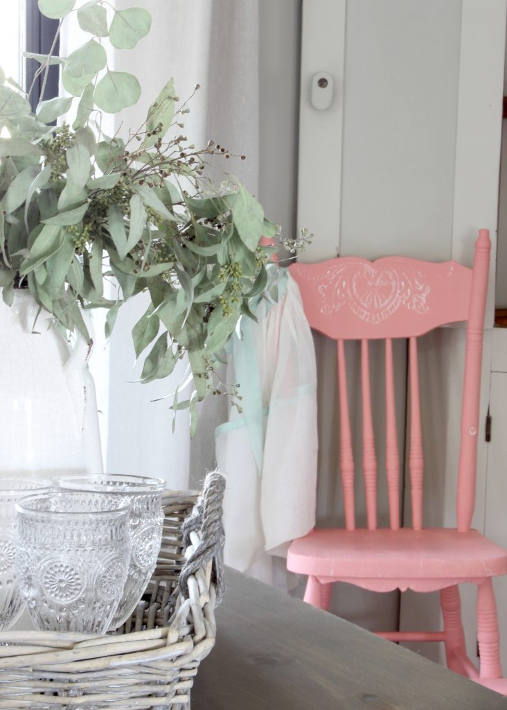 Cottage Style Coral Pink Vintage High Chair