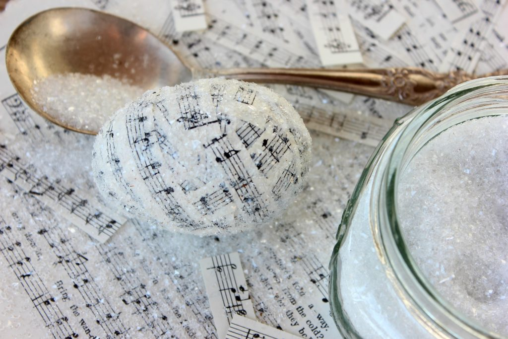 Top 10 Easter DIY Projects - Music Sheet Decoupage Glitter Plastic Eggs
