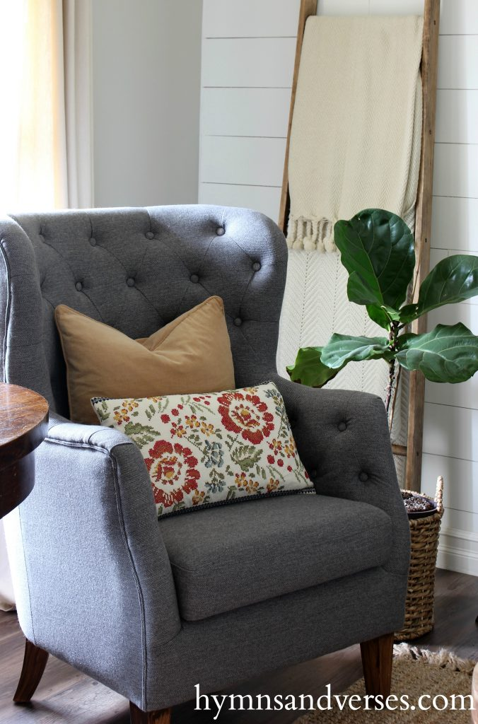 2017 Fall Home Tour - Gray Chair with embroidered pillow