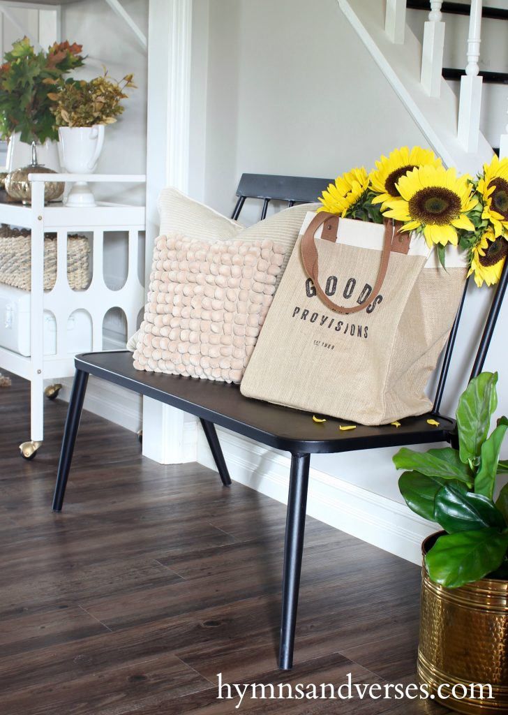 2017 Fall Home Tour - Windsor Bench with Sunflowers