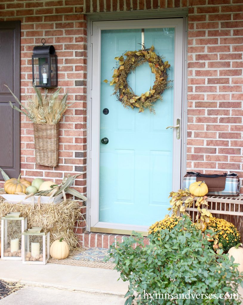 Fall Front Porch - Aqua Front Door