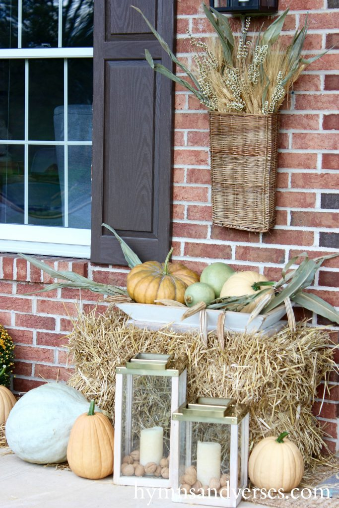 Fall Front Porch - Aqua and Pale Orange