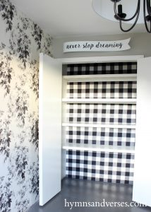 Buffalo Check Fabric Material Wallpaper in Closet