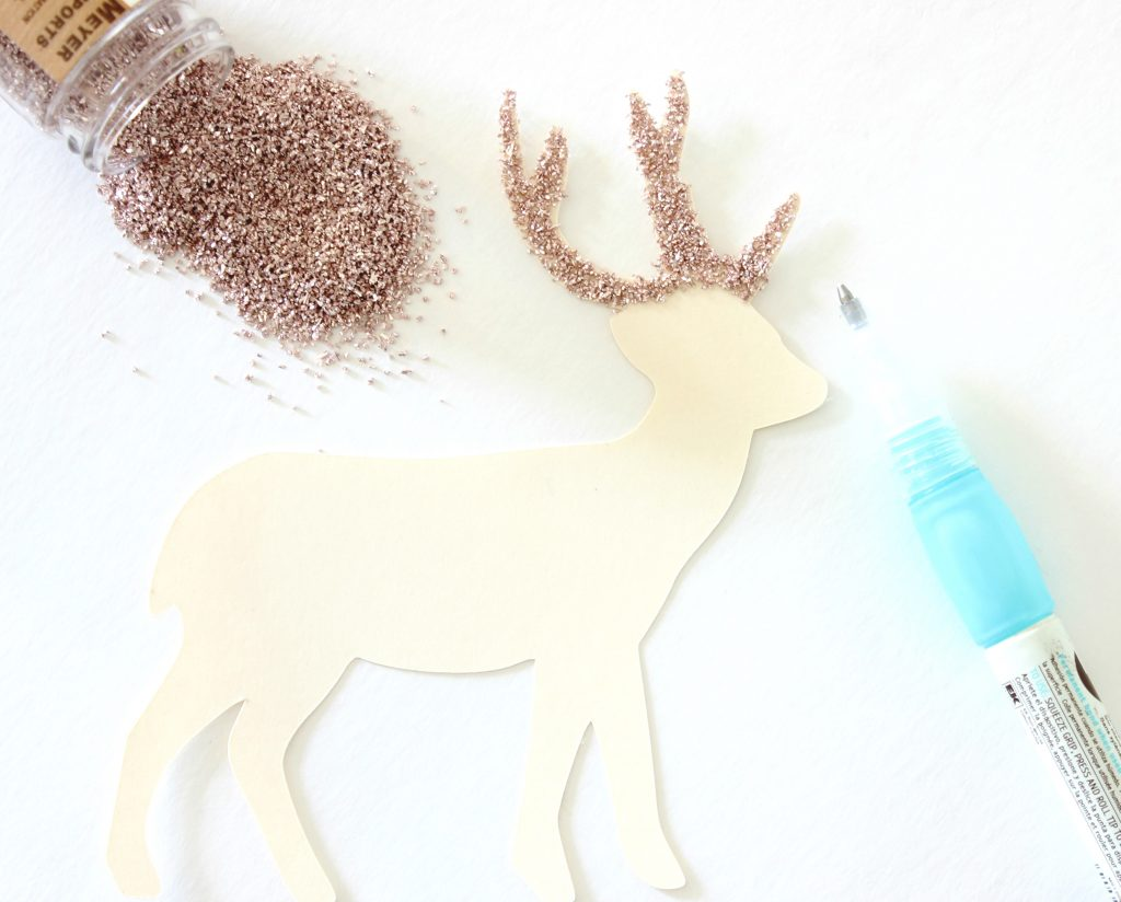 Deer Cutout Ornament - Glass Glitter Antlers