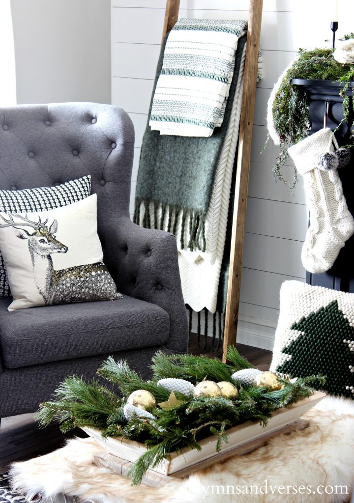 2017 Christmas Home Tour - Gray Tufted Chair