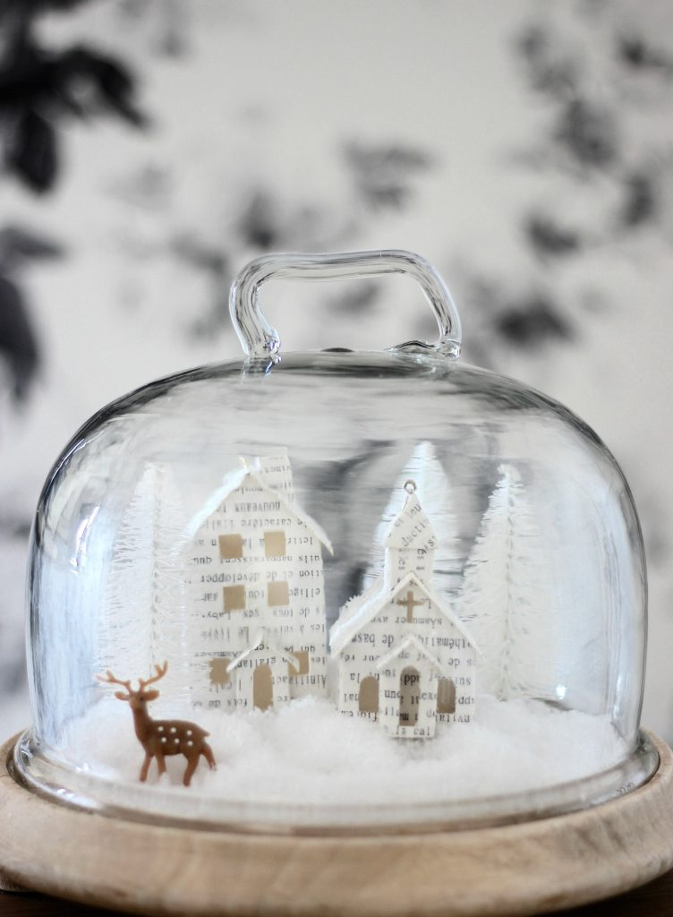 Miniature House Scene Christmas Cloche