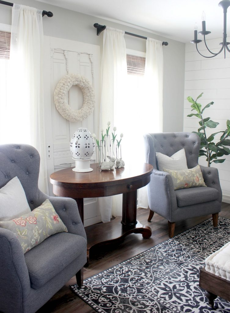 2018 Spring Home Tour - Gray Tufted Chairs