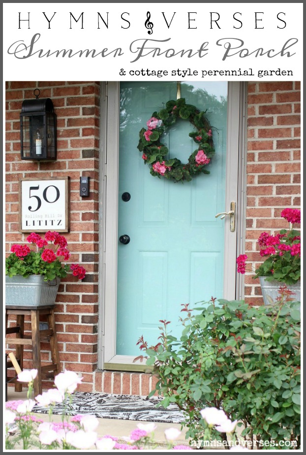See my new summer front porch with lots of DIY projects and thrifty decor elements that made it an affordable update for the summertime season and beyond! 