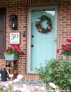 Pink Geranium Wreath Summer Front Porch