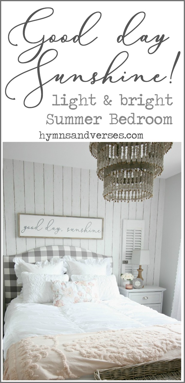 A sign above the bed that reads Good Day Sunshine is the inspiration for this light and bright summer bedroom using blush, white, and gray tones.