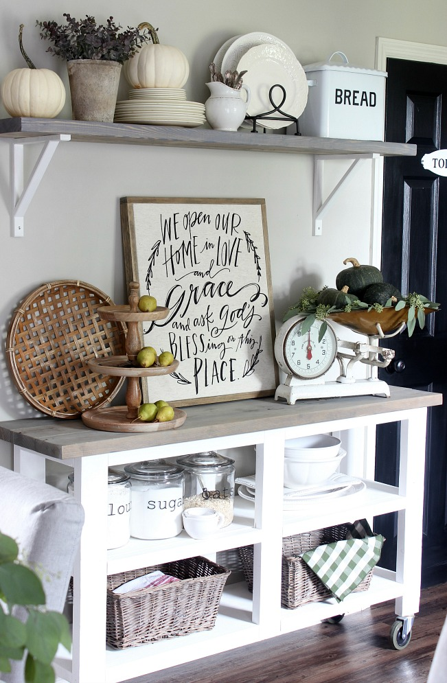 Fall Home - Kitchen Rolling Cart and Shelves