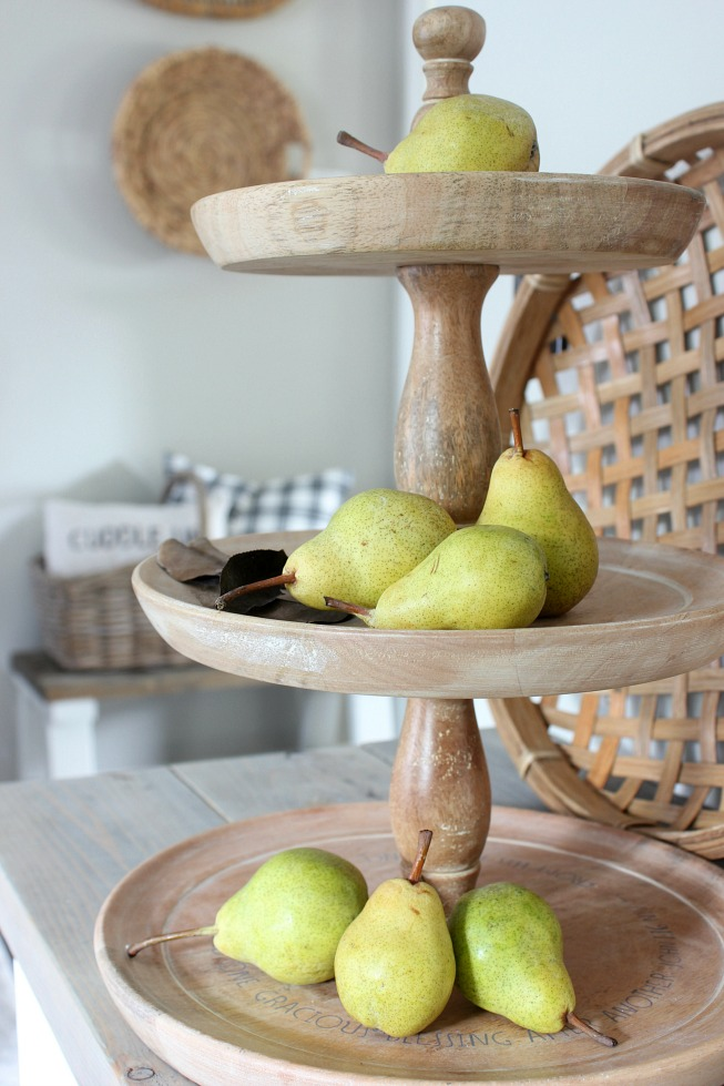 Fall Home - Barlett Pears on Three Tier Wood Stand